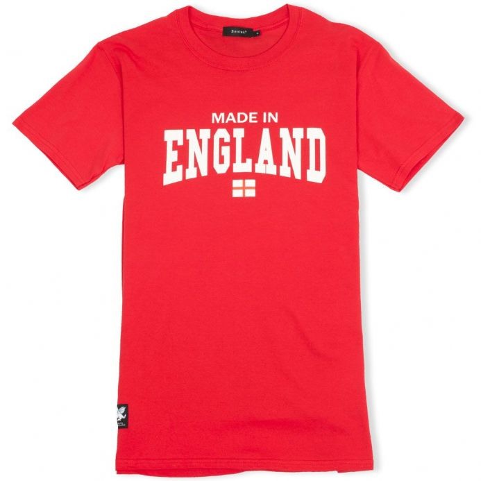 Made In England red T-shirt with White Dragon woven patch